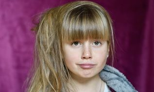 child girl face long blond hair