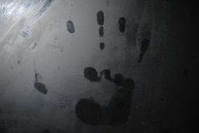 handprint on metal at the crime scene