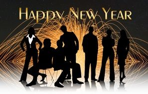 happy new year card with silhouettes