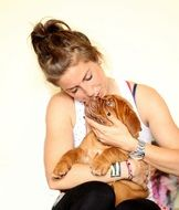 Girl with a dog French mastiff