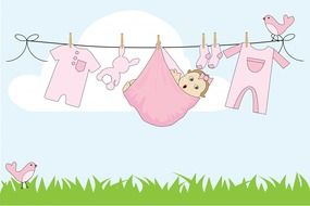 cute baby girl on clothes line, drawing, greeting card template