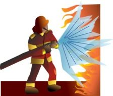 firefighter with hose at work, illustration