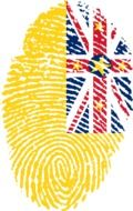 Picture of Niue flag painted in form of fingerprint