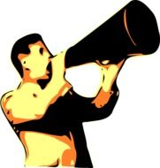 man with a megaphone as a graphic image