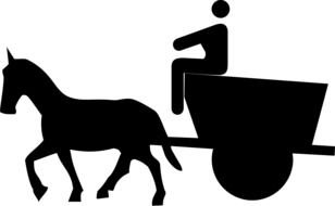 drawing of silhouettes of horse with a carriage and a man