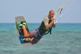 kite surfing man jump