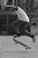 black-and-white image of a jump on a skateboard