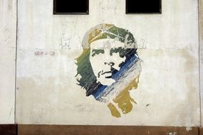 portrait of che guevara on the wall