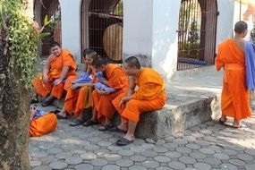 Asian monks in temple
