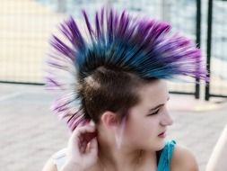 young girl with hair in punk style