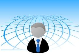 picture of office worker on the background grid globe
