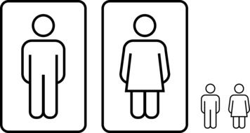 men and women toilet icon drawing