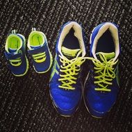 big and small blue sneakers
