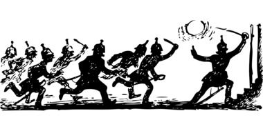 running soldiers, vintage illustration, black and white