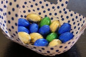 easter chocolate eggs in the basket