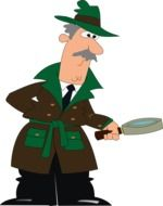 clipart,detective with magnifying glass in the drawn form