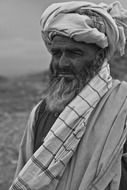 old afghanistan man portrait black and white
