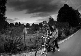 two girls on the bike