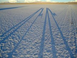 people shadows on salar uyuni surface, Bolivia