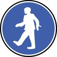 blue pictogram with a picture of a walking man