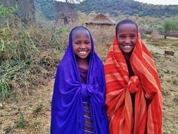 children of the African indigenous people Massai living in Tanzania