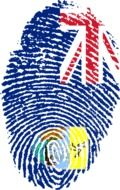 fingerprint in colors of flag of Saint Helena, Ascension and Tristan da Cunha, British Overseas Territories