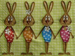 napkins with Easter bunnies