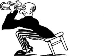 drawing of a man on a chair looking through binoculars