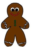 cartoon colorful gingerbread man drawing