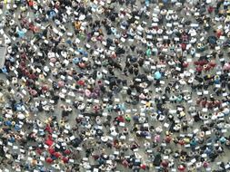 ariel view on a crowd of people with trombones on the Cathedral square