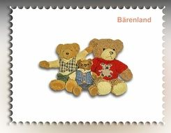 а stamp with teddy bears