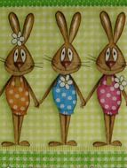 easter bunny family on napkins to decorate
