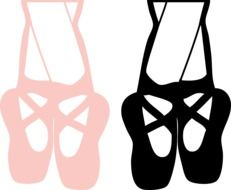 pink and black ballet shoes