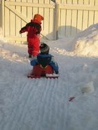 playing outdoor children in winter