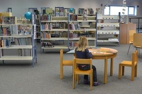 child girl in library read books
