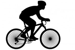 black silhouette of a cyclist as a pictogram