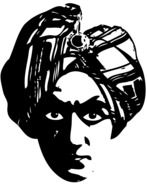 Black and white drawing of the person with the turban clipart