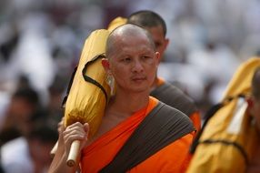 buddhist monks in orange robes