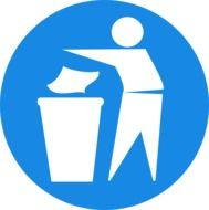man recycling trash blue paper