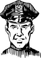 black and white drawing of a policeman