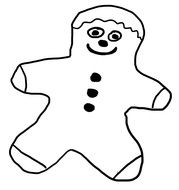 funny gingerbread man as a black and white graphic image