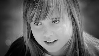 girl smiling black and white picture