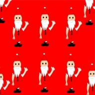 many santa clauses on red background drawing