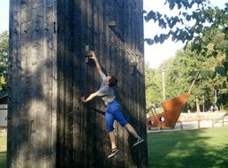 woman on the climbing wall outdoor