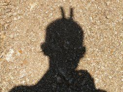 shadow of a man with horns