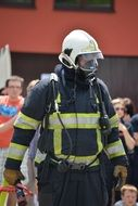 Man in fire wear protective equipment