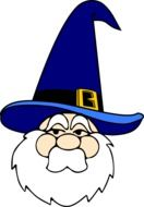 wizard in a blue cap as a graphic image