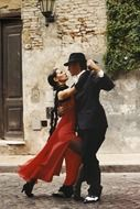 beautiful couple dancing tango