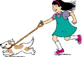 Ä°llustration of girl running with a dog