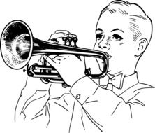 boy playing cornet instrument